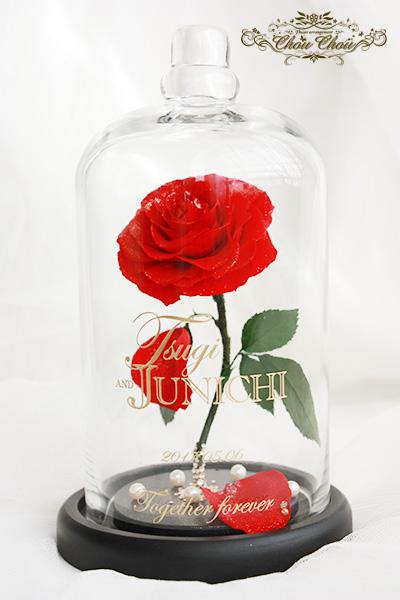 プロポーズの薔薇の花束&一輪の薔薇のガラスドーム アレンジ order no 201736