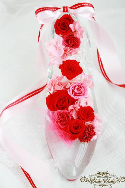ディズニー クリスマス プレゼント ガラスの靴 プリザーブドフラワー 花束 配達 花屋 プロポーズ