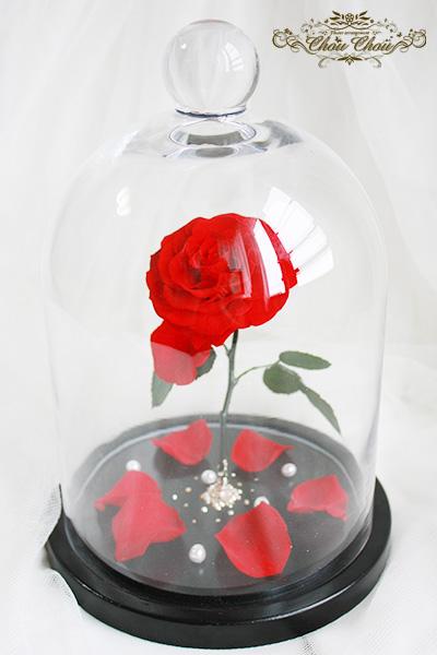 1周年記念 一輪の薔薇 ガラスドーム  美女と野獣 プリザーブドフラワー オーダーフラワー シュシュ