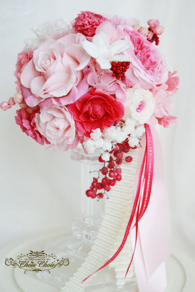 プロポーズ オーダーフラワー ガラスドーム プリザーブドフラワー 薔薇