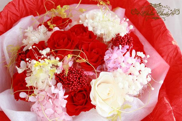 プロポーズ 花束 ダズンローズ 12本の薔薇 赤バラ プリザーブドフラワー エミオン 花屋 舞浜