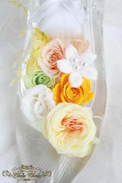 ガラスの靴 ディズニープロポーズ ホテルオークラ東京ベイ リングピロー プリザーブドフラワー 花屋 ChouChou