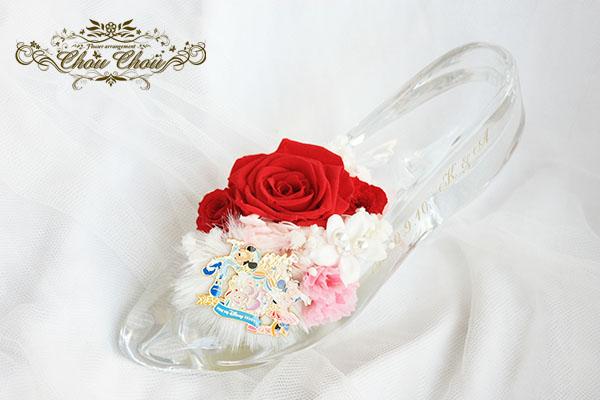 プロポーズ108輪のバラ ガラスの靴アレンジ&生花の花束 order no 180906
