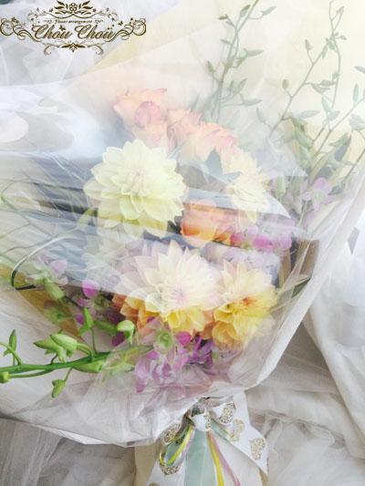 ディズニープロポーズ 花束 ディズニーランドホテル ダリア 薔薇 プリザーブドフラワー 花屋 ChouChou 舞浜