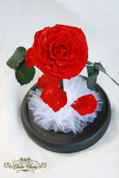 美女と野獣 一輪の薔薇 ガラスドーム 結婚記念日 プレゼント ディズニー ミラコスタ