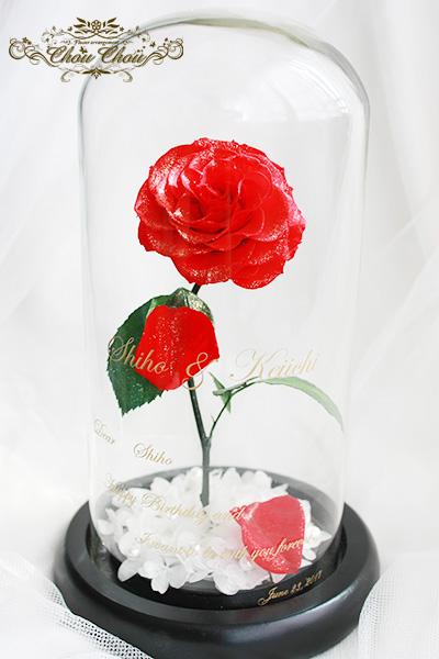 誕生日&プロポーズのガラスドーム アレンジ order no 201759