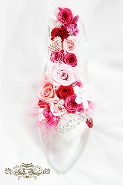 バレンタインの入籍祝い ガラスの靴アレンジ order no 180202