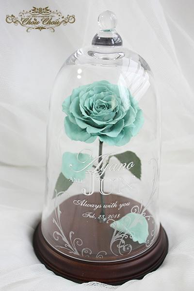 プロポーズ ターコイズブルーの一輪のバラ ガラスドーム アレンジ order no 180207