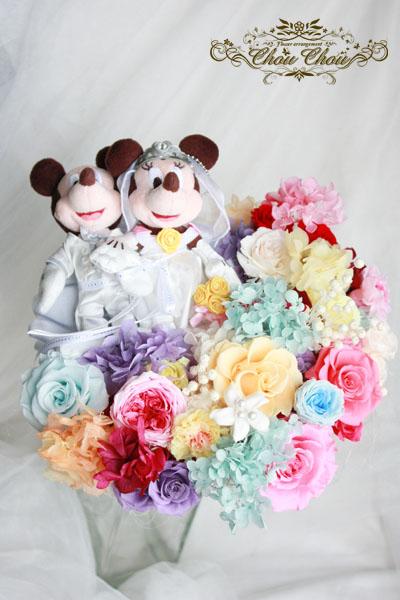 ディズニー プロポーズ ウェディング 花束 ミッキー ミニー プリザーブドフラワー アンバサダー