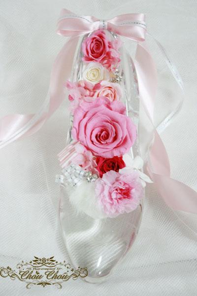 ガラスの靴 プロポーズ ディズニー 本物 ガラス製 フラワー プリザーブドフラワー プレゼント