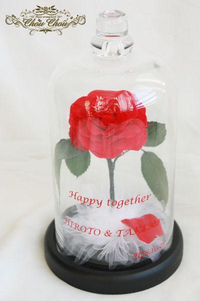 美女と野獣 ディズニー プロポーズ 東京ベイ舞浜ホテル クラブリゾート 花屋 一輪の薔薇 ガラスドーム プリザーブドフラワー