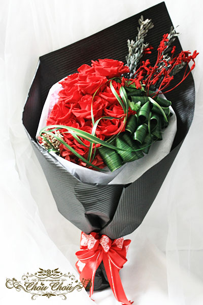 プロポーズ プリザーブドフラワーの12本のバラ(ダズンローズ)の花束 order no 181204