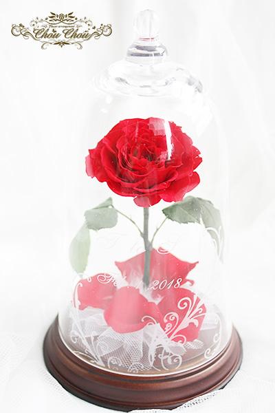 プロポーズ 一輪のバラのガラスドーム アレンジ 6枚の花びら order no 180201