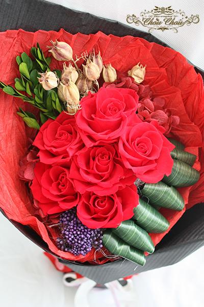 プロポーズ プリザーブドフラワーの赤バラの花束 order no 180205