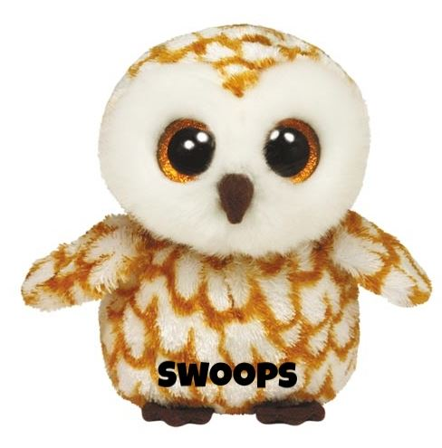 "Swoops is op 12 september jarig. ""My big eyes can see at night / So I fly around by the moonlight !"""