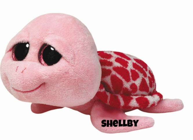 "Shellby is op 21 februari jarig. ""I'm the prettiest turtle in the sea / My pink shell looks good on me!"""