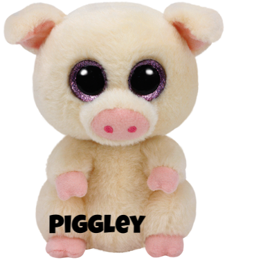 "Piggley hat am 8. März Geburtstag. ""I like to roll, hop and play / When all my friends jump in the hay!"""