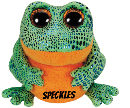 "Speckles hat am 1. Mai Geburtstag. ""Give me a bug / And I'll give you a hug!"""