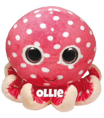 "Ollie is op 31 januari jarig. ""Among the pink coral I like to hide / In the blue ocean just under the tide!"""