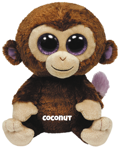 """Coconut is op 27 juli jarig.  """"Some say I'm a strange-looking monkey / My legs are short and my body is chunky!"""""""