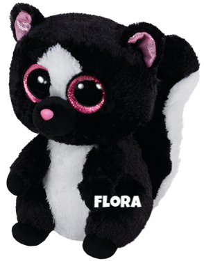 "Flora is op 6 april jarig. ""I am black and white and pink / And every now and then I stink."""