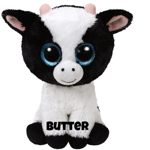 "Butter hat am 12. Januar Geburtstag. ""I don't talk, I only moo / that's my way of saying ""I love you""."""