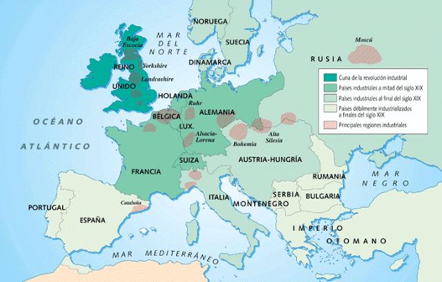 Mapa de la Revolución Industrial