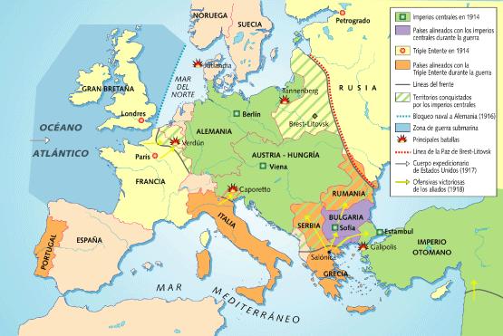 Mapa de Europa I Guerra Mundial
