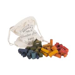 Wooden Story Rainbow Blocks Regenbogen-Holzbausteine im Sack Bio-Bauklötze - zuckerfrei | Kids Concept Store