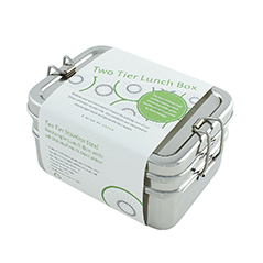 A Slice Of Green Two Tier Lunchbox Edelstahl Brotdose - zuckerfrei   Kids Concept Store