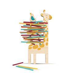 Packesel Stäbchen Stapelspiel Matilda Giraffe Londji Barcelona ökologisches Holzspielzeug bei zuckerfrei.berlin
