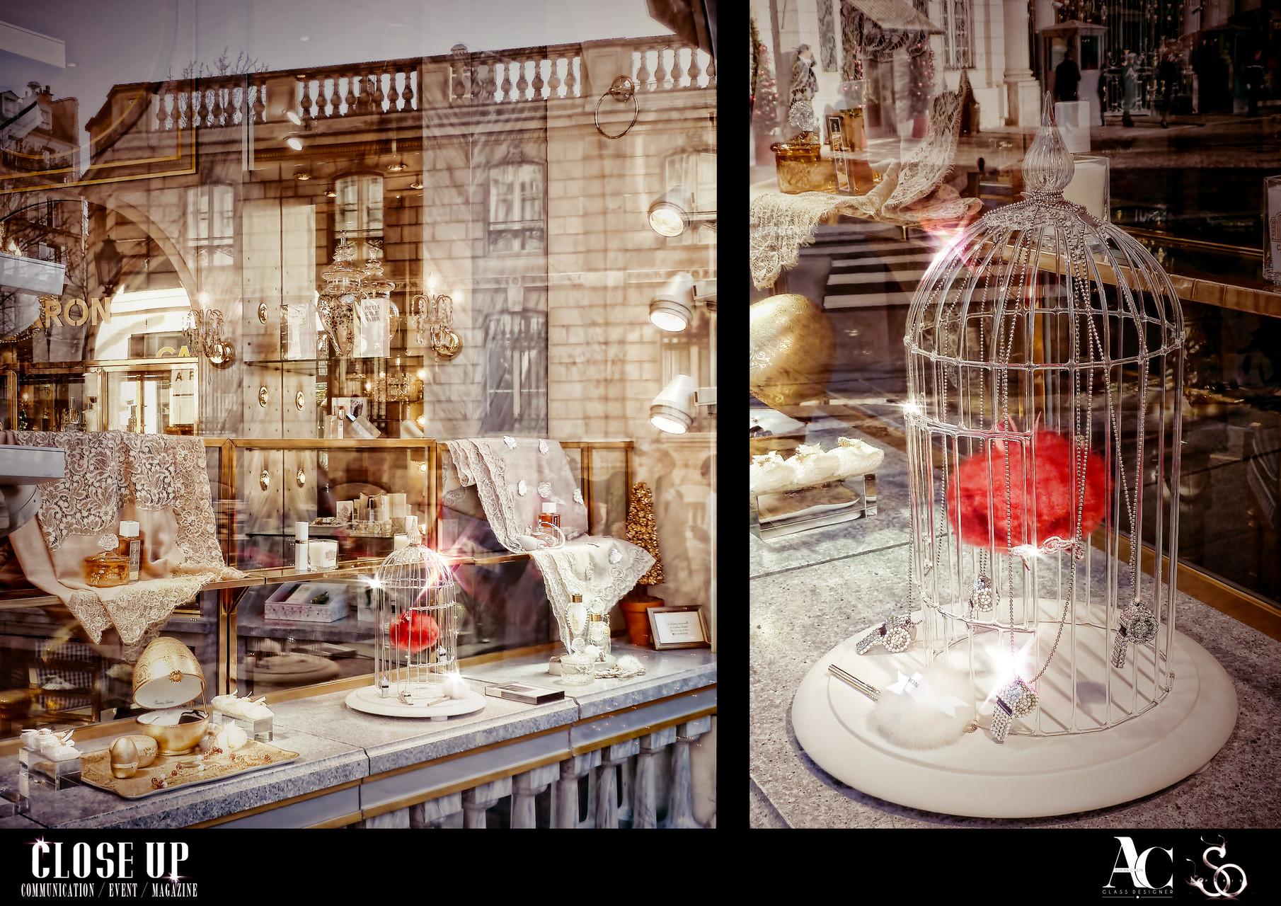 Cage en verre réalisée pour la vitrine de la boutique CARON Faubourg Saint-Honoré à Paris