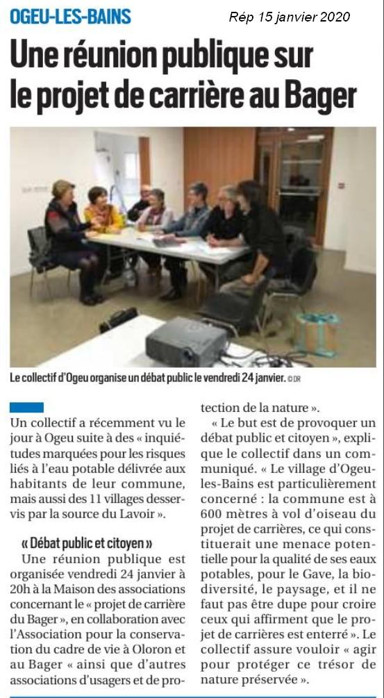 Le Collectif d'Ogeu communique sur la République des Pyrénées la réunion du vendredi 24 janvier 2020 à 20 h