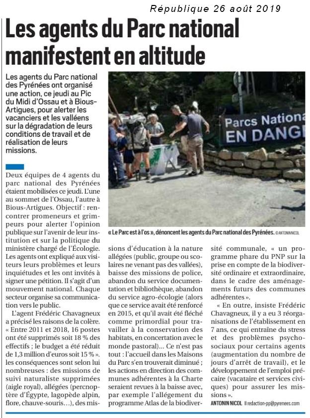 Malaise au Parc National des Pyrénées - L'ACCOB à Oloron Sainte Marie soutient les agents nécessaires à l'avenir de la nature