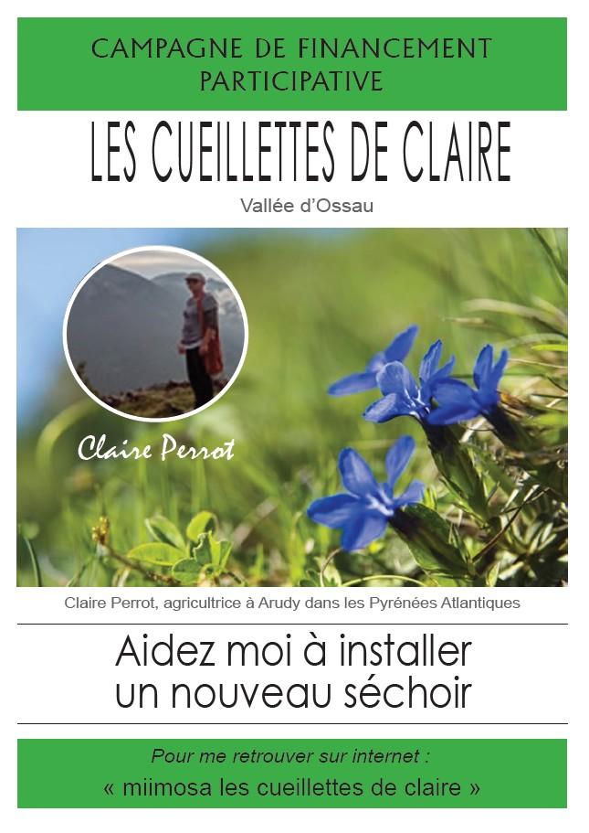 Affiche pour financement participatif du jardin : Les cueillettes de Claire au Bager d'Arudy