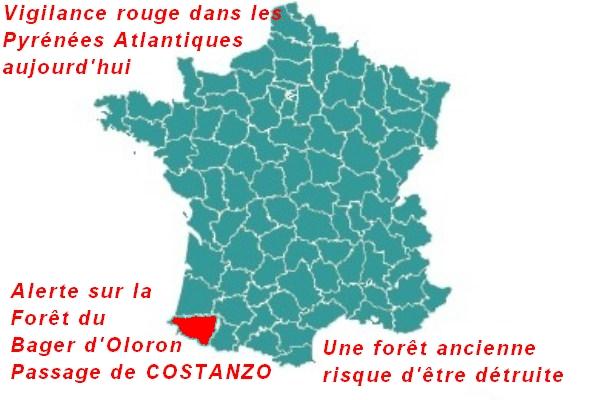 2019 Alerte avec risques destructeurs : COSTANZO sur forêt du Bager d'Oloron. Vigilance au maximum.