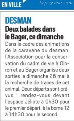 La République des Pyrénées - un petit rappel pour ceux qui souhaitent découvrir la biodiversité au Bager, dont le desman