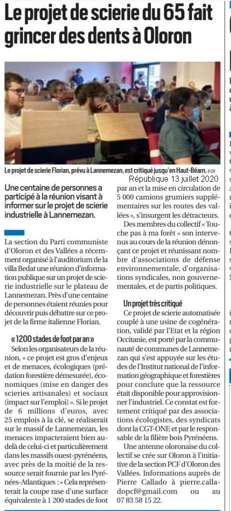 La Méga scierie projetée à Lannemezan inquiète les pros du bois du département 64- La Républque 15 juillet 2020