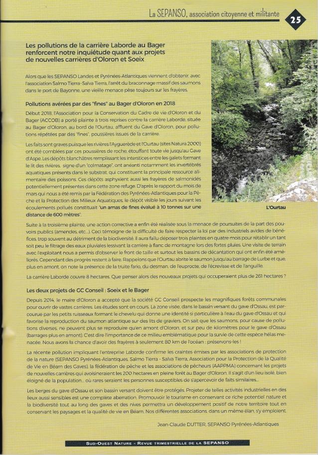 Numéro spécial 50 ans de la SEPANSO avec un article sur les dégâts causés par la carrière du Bager d'Oloron