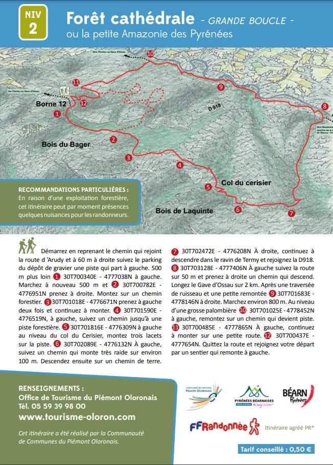 """Descriptif de la Forêt Cathédrale ou Petite Amazonie des Pyrénées sur le PLR nommé """"Grande Boucle"""" au Bager d'Oloron avec le plan-ACCOB"""