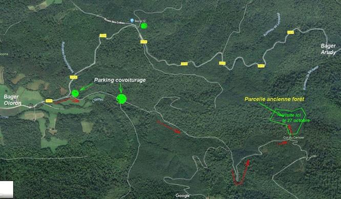 Se rendre au col du Cerisier en forêt du Bager d'Oloron le 27 octobre à 15 heures avec l'ACCOB