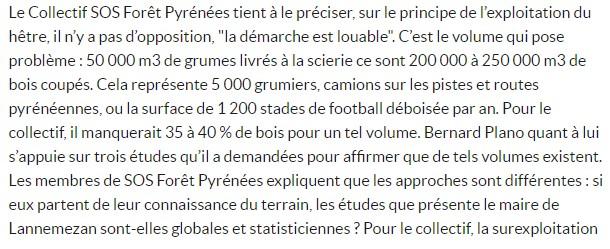 Extrait du communiqué de presse de SOS Forêt Pyrénées à Lannemezan. Diffusion ACCOB d'Oloron adhérente.