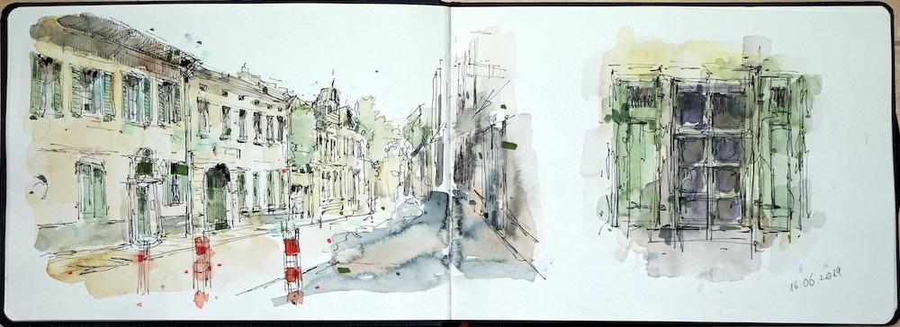 Stadtzeichnen, Urban Skizzen, Reiseskizzenbuch, Mappenkurs Düsseldorf