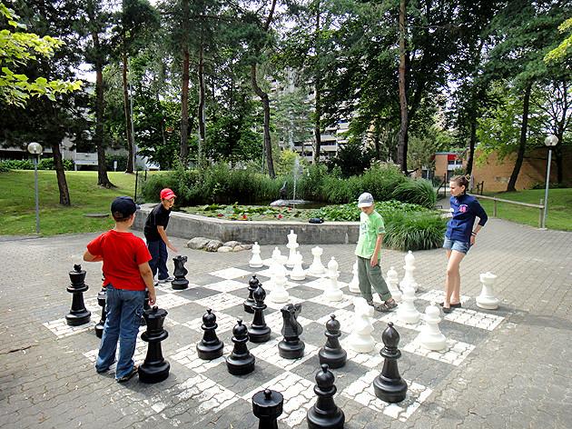 Photo Ferien-Schach 2012, Gartenschach im Pelikan Park