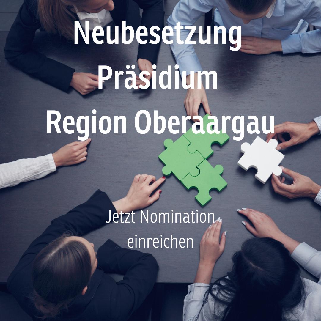Präsidium Region Oberaargau: Jetzt Nominationen einreichen