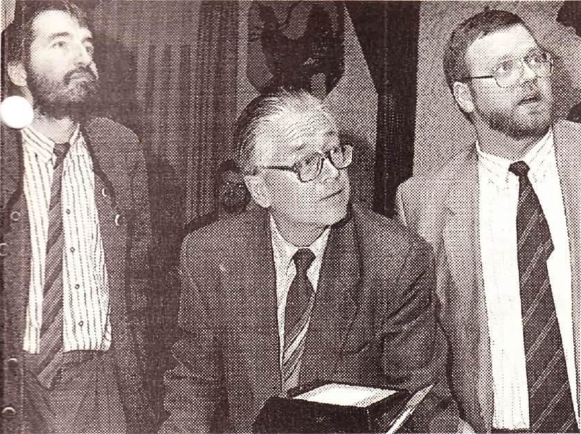 1991: v.l. SDW-Landesgeschäftsführer Reiner Deuschel, Prof. Dr. Jürg Steinlin, SDW-Kreisvorsitzender BM Ulrich Burr