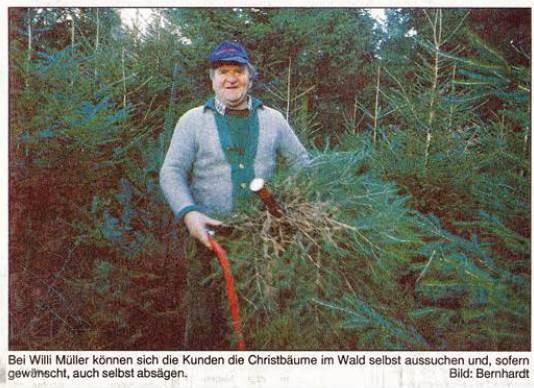 1994: Erster Weihnachtsbaum-Pressetermin:  Willi Müller, Spechtshof, Vorsitzender des Waldbauvereins