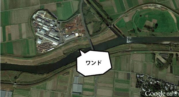 山佐木材下住工場 すぐ南を肝付川が流れ、「ワンド」(地形)には生物が多くみられる