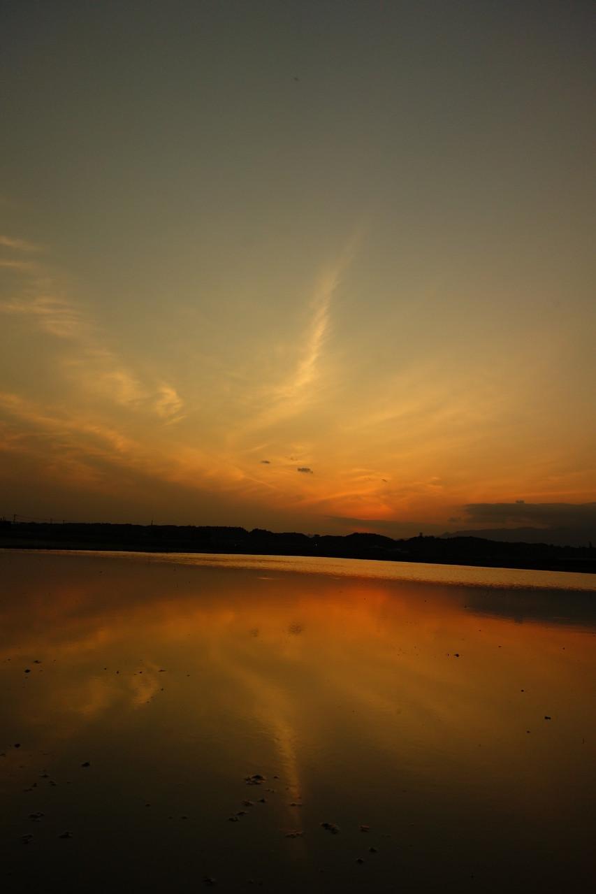 田園の水面に顔をのぞかせた もう一つの夕焼け