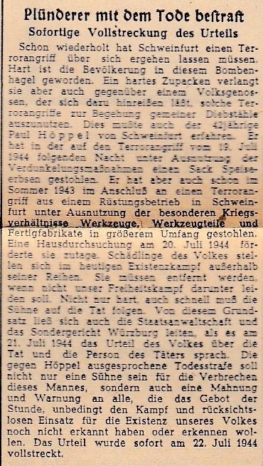 Schweinfurter Zeitung, Amtliches Organ der NSDAP und sämtlicher Staats- und Gemeindebehörden 25. Juli 1944